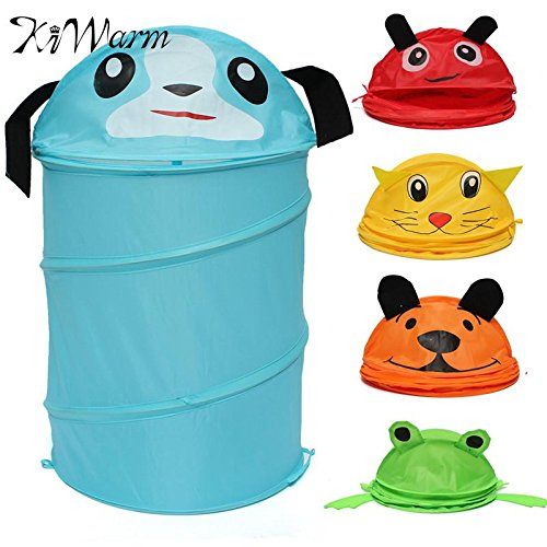Foldable 5 Styles Cute Cartoon Folding Laundry Cylinder Pop Up Household Storage Bin Hamper Tidy Basket Kid Toy Sundries Box Bag by zilzol (Image #1)