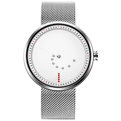 SINOBI Stylish Men's Quartz Watch with White Unique Dial Design Minute/Hour Display and Elegant Milanese Mesh Band (Dial Watch White Mesh)