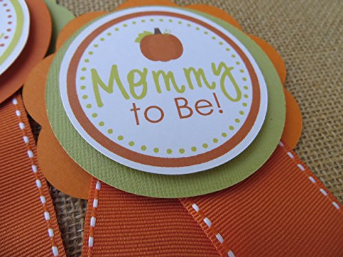 Fall Pumpking Baby Shower Corsage, Little Pumpkin Themed Baby Shower Ribbon - Choose Saying & (Fall Themed Baby Shower)