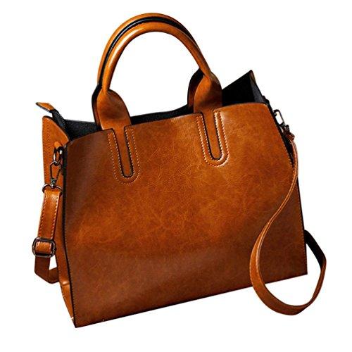 Handheld Evening Bag (Hot Sale! Shoulder Bag, Among Fashion Women Leather Handbag Tote Purse Messenger Zipper Softback Satchel Versatile Package Bundle (32cm(L)25(H)11cm(W), Brown))