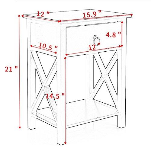 Tobbi Nightstand MDF End Side Table Drawer Storage Bedroom Furniture Set of 2 Black