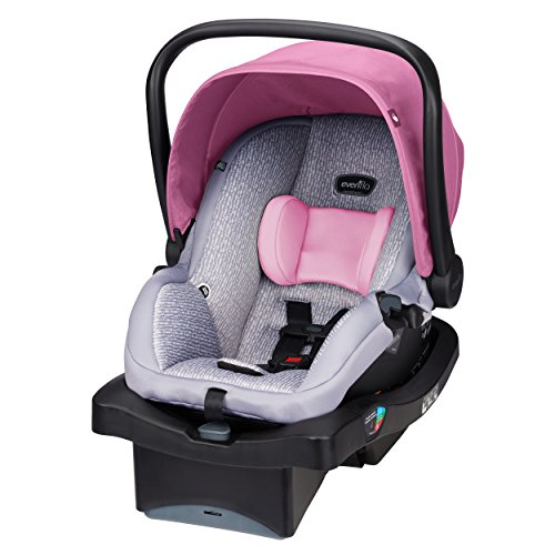 Evenflo LiteMax 35 Infant Car Seat, Easy to Install, Versatile Convenient, Meets or Exceeds All Federal Safety Standards, Machine-Washable Pads, Full-Coverage Canopy, Azalea Pink