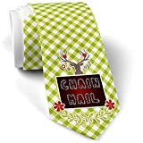 Green Plaid Christmas Neck Tie Chain Mail Silver Chain Lettering gift for men