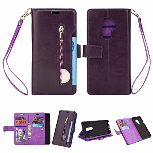 "Cheap Samsung Galaxy S9 Plus(6.2""inch) Wallet Case – KAIFX Classic PU Leather [9 Card Slots]Magnetic Closure Zipper Flip Folio Kickstand Protective Cover With Wrist Strap for Galaxy S9+ (Purple, S9 Plus)"