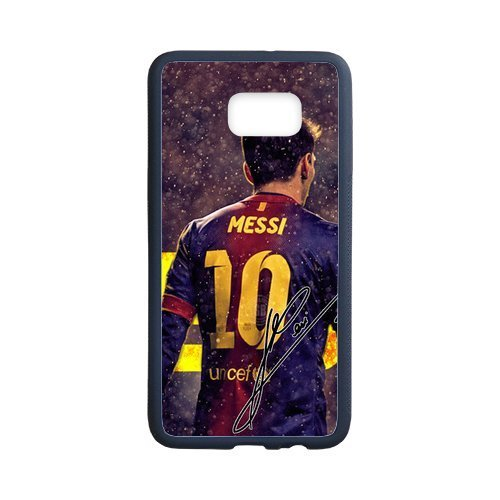 DIY Barcelona Soccer Futsal FC Messi Custom Case Shell Cover for Samsung Galaxy S6 Edge+ Case (Laser Technology)