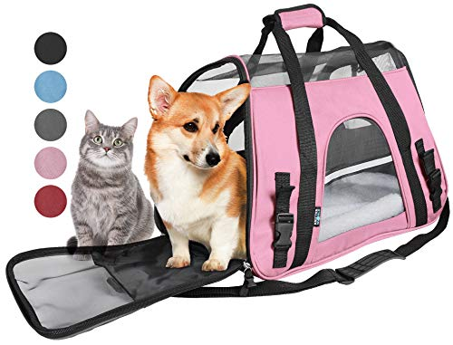 (Tirrinia Soft Side Pet Carrier Travel Bag for Small Dogs and Cats Airline Approved | Removable Sherpa Lining Bed, Safety Buckle Zippers, Seat Belt Buckle Included Pink)