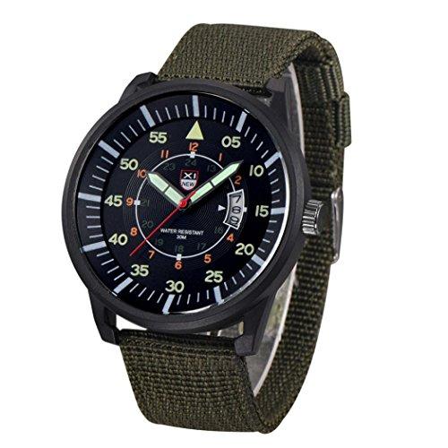 Pocciol Military Mens Luxury Sport Wrist Watch Quartz Big Dial Date Army Soft Watches (Green)