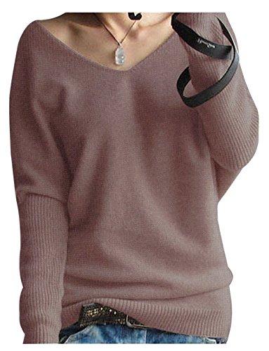 507cf21aa5bb LongMing Damen Mode Kaschmir Pullover Sexy lose Große Langen Ärmeln V-Ausschnitt  Fledermausflügel Herbst und Winter Ärmel Pullover  Amazon.de  Bekleidung