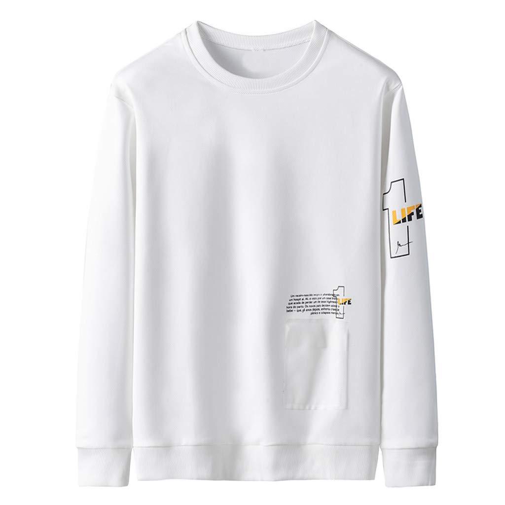 Badymin Men Warm Winter Long Sleeve Pullover Letter Sweatshirt Top Tee Outwear Blouse White by Badymin
