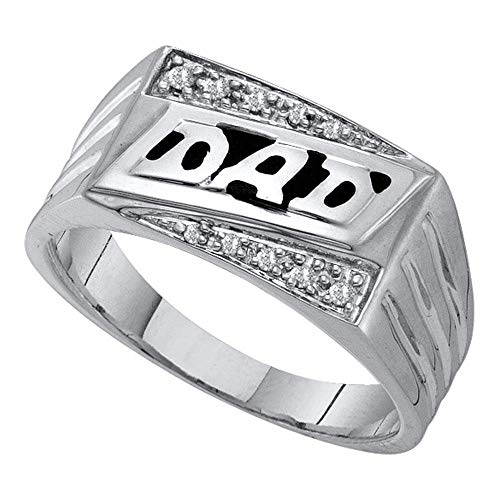 (The Diamond Deal 10kt White Gold Mens Round Diamond Dad Father Fashion Ring 1/12 Cttw)