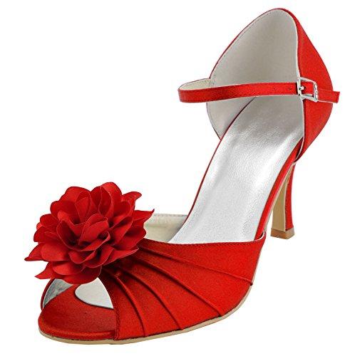 Kevin Fashion - Zapatos de boda fashion mujer Rojo - Style1-Red