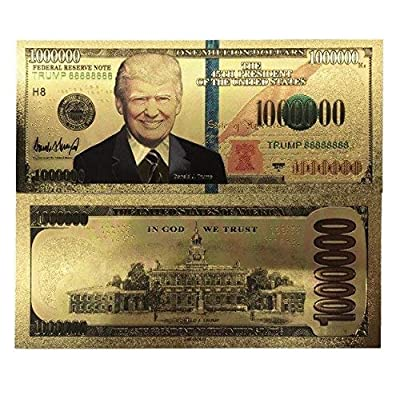 blinkee Million Dollar Bill with US President Donald Trump 24k Gold Plated Fake Banknote Currency for Decoration: Toys & Games