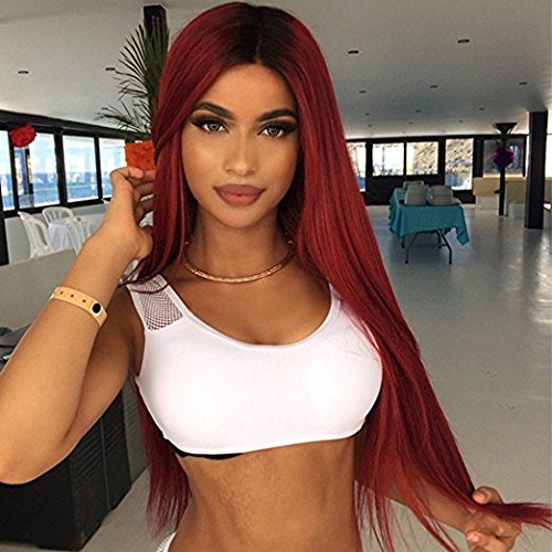 - aSulis Ombre Wine Red Long Natural Straight Black Roots Synthetic Wigs for Women Middle Parting wigs 26