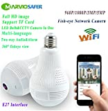 960P HD LED Bulb CCTV Wifi Network Camera VR Panoramic View Fisheye Camera Two-way Audio Phone Monitor (960P Version)