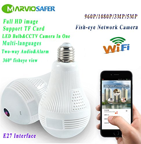 960P HD LED Bulb CCTV Wifi Network Camera VR Panoramic View Fisheye Camera Two-way Audio Phone Monitor (960P Version) For Sale