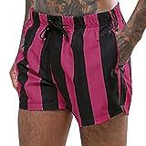 Vickyleb Men's Surf Quick Dry Swim Trunks with Drawsting Hot Pink