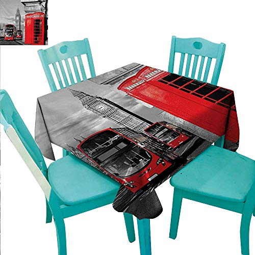 London Washable Table Cloth London Telephone Booth in the Street Traditional Local Cultural Icon England UK Retro Washable Polyester - Great for Buffet Table, Parties, Holiday Dinner, Wedding & More
