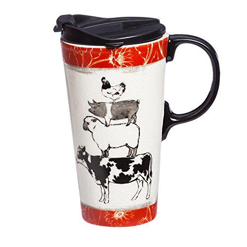 - Cypress Home Ceramic Travel Mug with Gift Box, 17 ounces (Farm Animals)