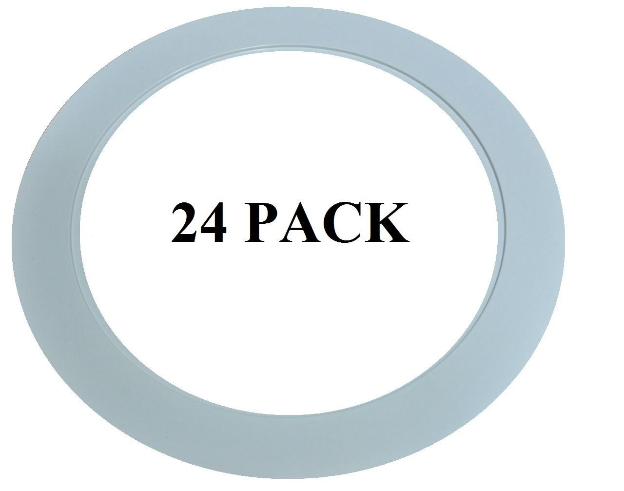 24 PACK - 6'' INCH OVER SIZE (7 1/8) BIG WHITE RECESSED OVERSIZED WIDE TRIM GOOF RING FOR CAN LIGHTS