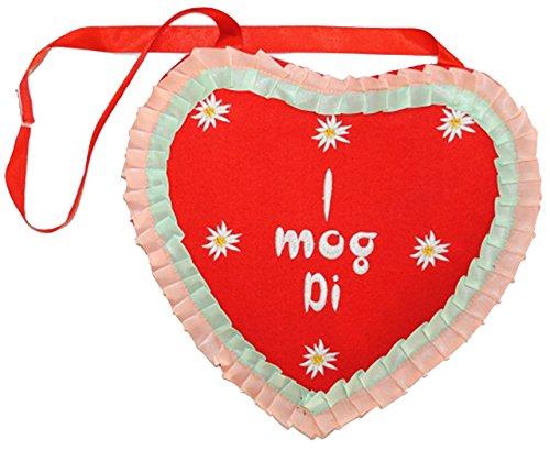 Schultertasche & Umhängetasche -  I mog Di  - Lebkuchenherz - Dirndl Tracht / Trachtentasche Bayrisch Edelweiß - rot - aus Plüsch - Kirmes - Lebkuchen Herzen - Liebe / Liebesspruch CPmIWgNi