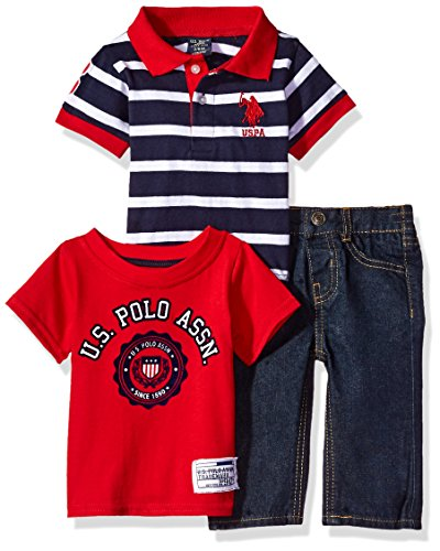 U.S. Polo Assn. Baby Boys' Polo, T-Shirt and Pant Set, Red Accented, 3/6 Months
