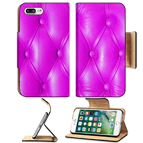 Luxlady Premium Apple iPhone 7 Plus Flip Pu Leather Wallet Case iPhone7 Plus 33932753 Buttoned on the pink texture from sofa
