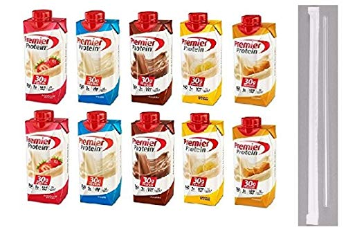 Premier Protein Shakes Drinks - Low Carb High Protein Shakes Variety 10 Pack (30g) | 2 of Each Flavor - Chocolate, Strawberry, Vanilla, Banana & Caramel | Bonus of 10 Individually Wrapped Straws by Premier Protein