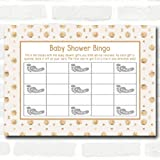 Neutral Gold Spots Baby Shower Games Bingo Cards