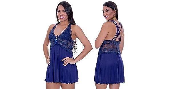 db74e9a501eccf Camisola Azul Marinho em Liganete e Renda Isadora - ME4004: Amazon ...