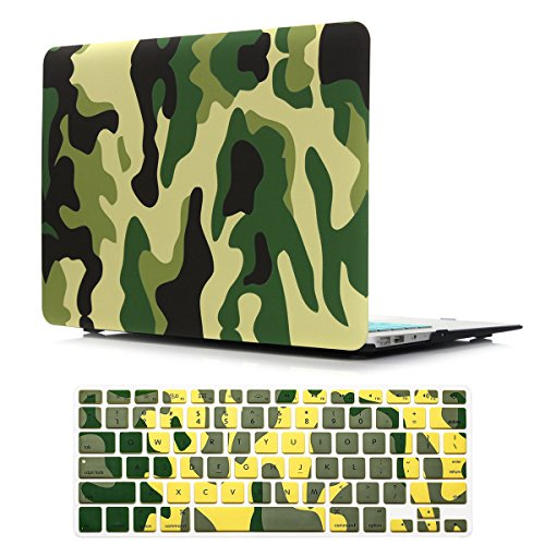 PapyHall Color Printing Plastic Protective Hard Case & Keyboard Cover for MacBook Air 13 inch Model: A1466 / A1369 (TZ-Camouflage Green) ()