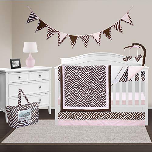 Pam Grace Creations 10 Piece Crib Bedding Set, Zara Zebra (Grace Diaper Stacker Baby)