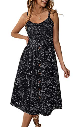 Angashion Women's Dresses - Summer Boho Floral Spaghetti Strap Button Down Belt Swing A line Midi Dress with Pockets 014 Black - Strap Button Belted Dress