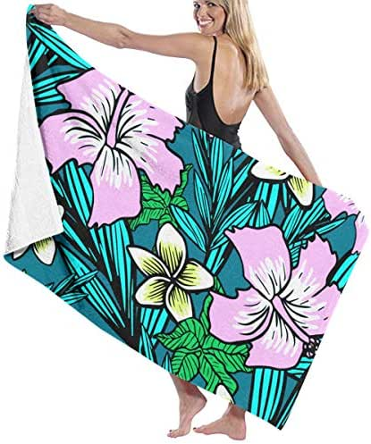 100% Polyester Tropical Flowers Hibiscus Beach Towel Soft and Absorbent Beach Bath Pool Towel Large Beach Towels One Size About 31.5 X 51.2 Inches
