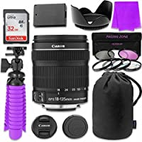 Canon EF-S 18–135mm f/3.5–5.6 IS STM Lens Bundle with SanDisk 32GB Memory Card, LP-E8 Replacement Battery, Flexible Gorillapod & 3 Piece Filter Kit for Canon EOS Rebel T4i, T5i Digital SLR Cameras