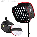 Kamerar D-Fuse Combo: Large LED Light Panel Softbox & D-Fuse Softbox Grid, 12''x12''