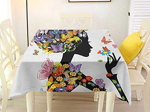 L'sWOW Rectangular Tablecloth Square Vinyl Butterflies Girl Fashion Flowers with Butterflies Ornamental Floral Foliage Nature Forest Multicolor Waterproof 36 x 36 Inch
