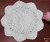 6PCS 8'' Round Crochet Lace Doily WHITE 100% Cotton Handmade, Set of 6 Pieces