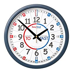 EasyRead Time Teacher Children's Wall Clock with simple 3-Step Teaching System using minutes past & minutes to method, 14 dia, learn to tell the time , ages 5-12