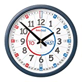 EasyRead Time Teacher Carton of 10 Children's Wall Clocks with simple 3-Step Teaching System, for home & school classroom, 14'' dia, learn to tell the time , ages 5-12