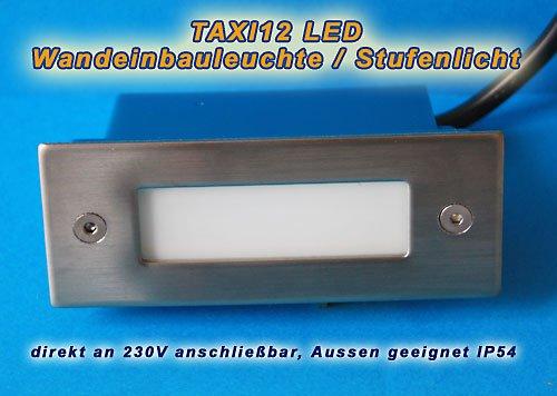 10er SET - LED Wandeinbauleuchte LED weiß 230V, IP54 für Aussen geeignet, Treppenlicht, Stufenlicht