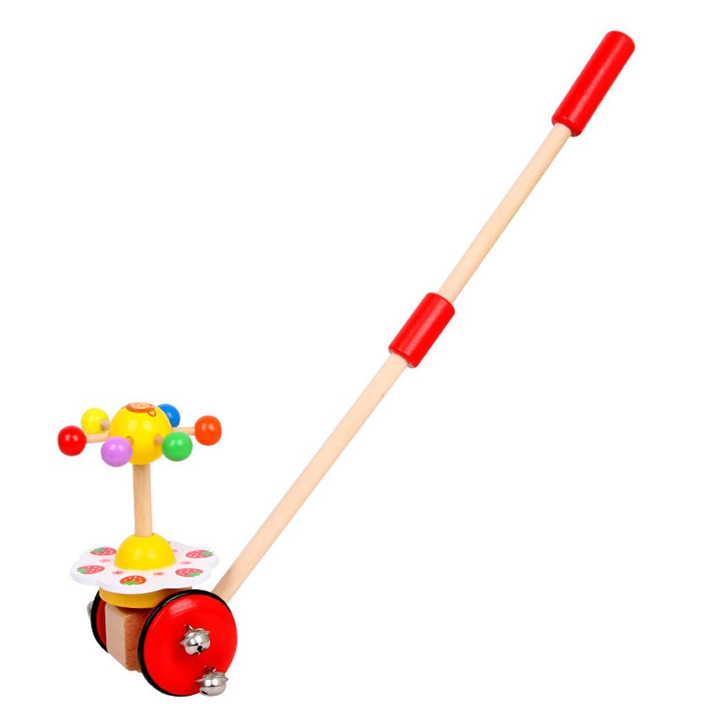 Celendi Kid Toy Creative Wooden Baby Walk Single Rod Spiral Trolley Learning Education Toy Cart for Children's Day Gift by Celendi (Image #2)