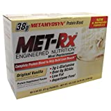 MET-Rx Meal Replacement Protein Powder - Original Vanilla - Box of 40 - 2.54 oz (72 g) Packets