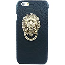 """""""Fashion Case"""" Ultra Slim Snake Texture Hard Shell Case with Lion's Head Ring Stand for iPhone 6 Plus (5.5 Inch Screen) (Black CYZH-I6P-02)"""