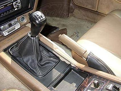 Black Alcantara-Blue Thread RedlineGoods Shift Boot Compatible with Nissan 300ZX 1984-85