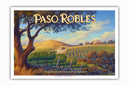 Pacifica Island Art - Paso Robles Wineries - San Luis Obispo - Central Coast AVA Vineyards - California Wine Country Art by Kerne Erickson - Master Art Print - 12in x 18in