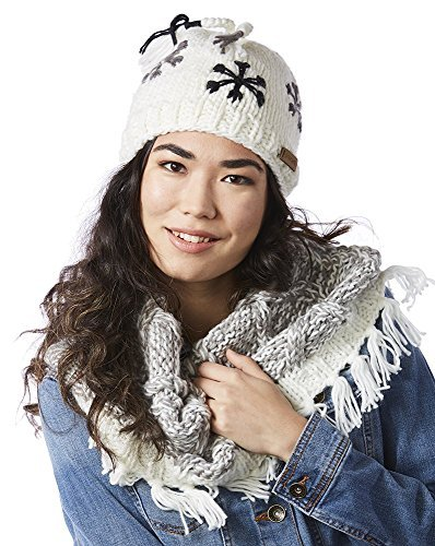 Screamer Women's Snowflake Beanie and Fringy Infinity One Size White [並行輸入品]   B071HP68G6