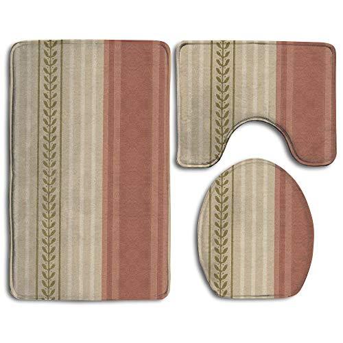 (Bathroom Rug Set 3 Piece Stripes Flannel Washable Non-Slip Bath Mat Contour Rug Toilet Lid Cover)