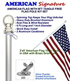 American flag and pole kit set: Includes a 3x5 ft US flag made in USA, 6 ft aluminum tangle free spinning flag pole with carabiners, and flagpole holder wall mount bracket