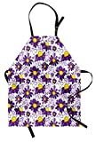 Lunarable Violet Apron, Abstract Floral Design with Butterflies Swirl Lines Animal and Plant World, Unisex Kitchen Bib Apron with Adjustable Neck for Cooking Baking Gardening, Purple Yellow White