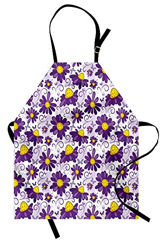 Lunarable Violet Apron, Abstract Floral Design with Butterflies Swirl Lines Animal and Plant World, Unisex Kitchen Bib Apron with Adjustable Neck for Cooking Baking Gardening, Purple Yellow White by Lunarable